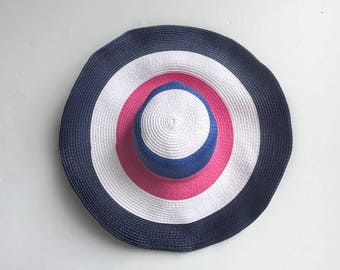 Colored Straw Floppy Sun Hat // Striped Straw Beach Hat