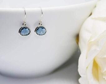 Small earrings 925 Silver Blue dark blue earrings