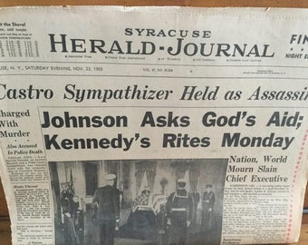 SALE: 4 Syracuse Newspapers Kennedy Assassination