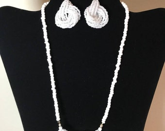 White Beaded Knot Necklace & Earring Set
