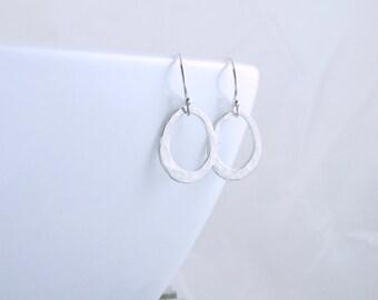 Silver Oval Earrings Open Circle Earrings Silver Jewelry Silver Minimal Earrings Everyday Earrings Boho Earrings Christmas Gift For Her