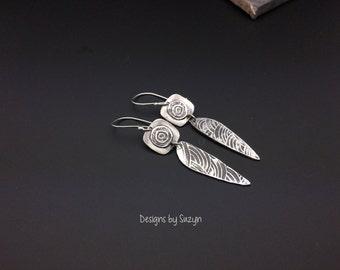 Fine Silver lightweight long dangle earrings, Long Oxidized Silver