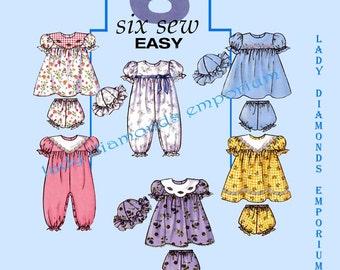 Butterick B4110 Infants Babydoll Dress Panties Jumpsuit Hat Babys size S M L XL (13-29 lb)  Six Sew Easy Pattern 4110 Uncut FF