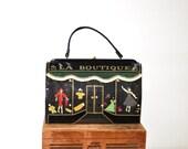 """50s """"LA BOUTIQUE"""" Parisian Window Shopper Novelty Handbag by Souré // Whimsical Fashion Fanatic Statement Purse"""
