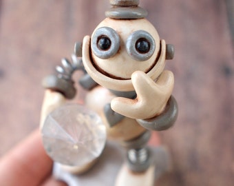 Mini Robot Sculpture GEEK TECHIE GIFT Jewel Thief Grungy Bot