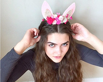 Felted Flowers & Bunny Ears Headband