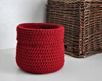 Red Basket Catchall Storage Bin Modern Decor Contemporary Design Custom Colors