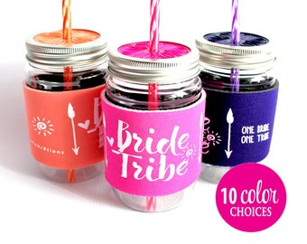 Bride Tribe,  Bachelorette Party Cup with matching Bride, Bachelorette Favors, Tribal, Arrow, Cup with lid, 11 Color choices