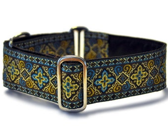 Martingale Collar or Buckle Dog Collar - Nobility Jacquard in Brown & Turquoise - 1.5 Inch