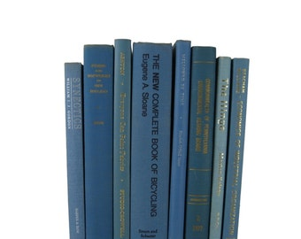 Blue Old  Books, Wedding Decor, Home Decor, Vintage  Books, decorative books, old books, library decor, stack of books, Bookshelf Decor