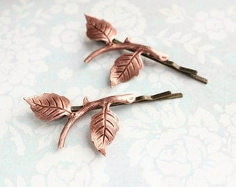 Branch Bobby Pins Rustic Rose Gold Copper Leaf Hair Pins Woodland Fairie Wedding Branch Hair Accessories Stocking Stuffer Boho Chic Bridal