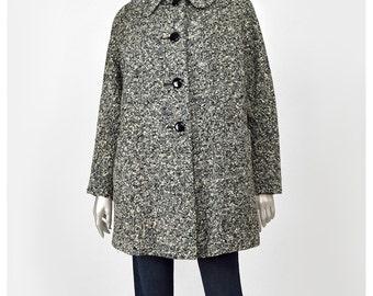 30% 0FF SALE 40s Swing Coat 1940s Tweed Wool Coat w/ Bow Grey Cream Black Fleck Peter Pan Collar Short Wool Coat 1940s Coat