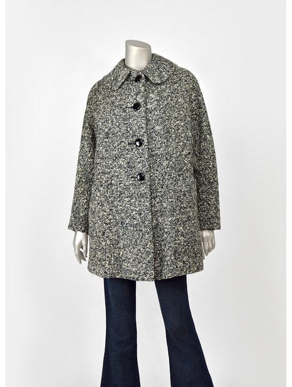 SALE Vintage 40s Swing Coat 1940s Tweed Wool Coat w/ Bow