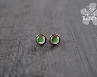Clous fantaisie - Mini clous d'oreilles - Boucles d'oreilles cactus - Mini stud - Cactus studs - Nature inspired jewelry - Coco Matcha