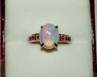 Natural Multicolor Opal, Rubies In Sterling Silver Ring, 1.66ct. Size 6.75.