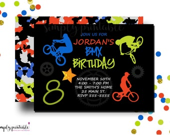 BMX Birthday Invitation, Bike Invite, Printable or Printed