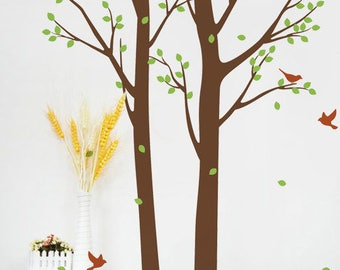 "Two Spring Trees 63""W × 94""H - Living Room Wall Decals, Nature Trees Wall Sticker, Wall Stencils, Tree Decals, Removable Wall Sticker pt0290"