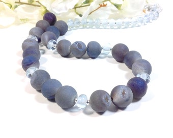 Blue/gray/purple druzy and lampworked glass bead necklace