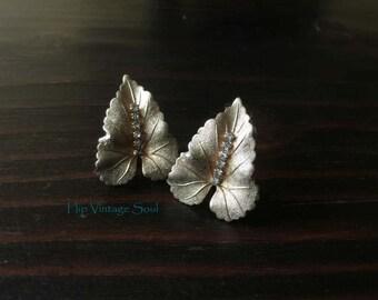 Vintage 1960's Judy Lee Leaf Clip Earrings, Gold Tone with Rhinestone Leaf Earrings, Mad Men, Retro, Mod