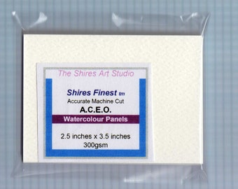 Watercolour ACEO Panels 10 or 20 units 300gsm 2.5 x 3.5 Inches Single Thickness