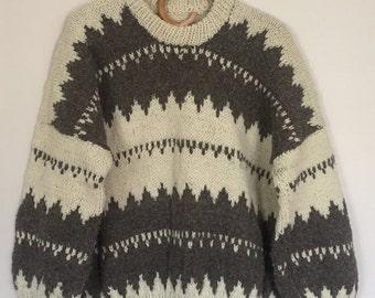 Vintage Hand Knit Wool Ski Sweater