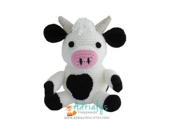 Crochet Cow- Stuffed Cow- Cow Plush- Farm Animals- Barn Animals- Handmade Cow- Crochet Toy-Amigurumi- Made to Order