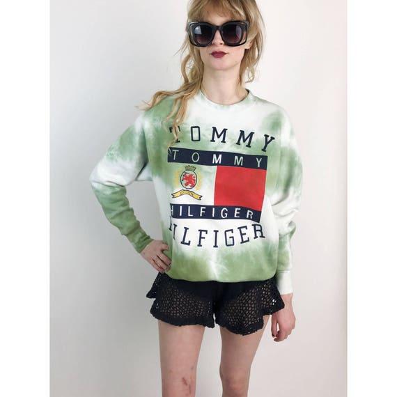 90's Tommy Hilfiger Classic Logo Sweatshirt Medium - Tie Dye Green Sweatshirt Jumper Grunge Hilfiger Unisex - Nineties Hip Hop Street Wear