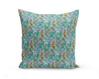 Mermaid Scale Pillow Cover, Fish Scale pillow cover, beach house decor Decorative Pillow Cover