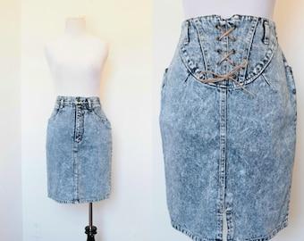 Vintage 1980's 1990's Acid Wash Denim Skirt// Light Blue Acid Wash High Waist Skirt// Size Medium '80s '90s Skirt