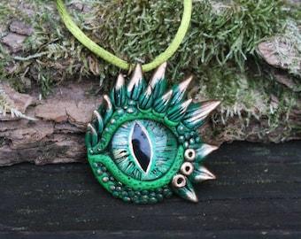 Green dragon eye pendant - fantasy necklace - green dragon - ooak dragon - polymer clay jewelry - Rhaegal dragon - ooak - dragon jewelry