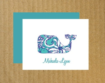 Whale Note Cards, Set of 10, Whale Thank You Cards, Baby Whale Note Cards, Baby Thank You Cards, Thank You Cards, Whale Cards, Whale