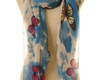Butterfly Scarf | Butterfly Infinity Scarf | Blue Silk Scarf | Summer Scarf | Boho Scarf | Mother's Day Gift | Bohemian Scarf S-132