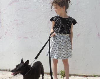 Girls Black And White Skirt - Trendy Girls Clothing - Girl Modern Clothes - By PetitWild