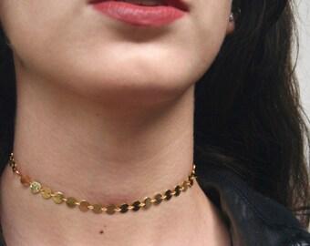 Gold Coin Choker | Gold Choker, Gold Plated Choker Gold Coin Necklace, Thin Choker, Dainty Choker, Gold Choker Chain, Delicate Choker