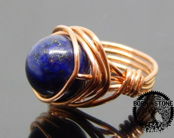 Wire wrapped ring Lapis lazuli ring Copper ring Steampunk ring Wire wrap Gemstone ring Boho ring Magic ring Best gift For her For mom