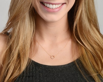 Dainty Circle Necklace, Karma Necklace, Gold Circle Necklace, Minimalist Necklace, Layering Necklace, 14kt Gold Fill, Rose Gold Fill, Silver