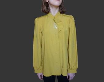 Vintage yellow blouse, itokin 1950 blouse, vintage 1950 blouse, yellow longsleeve blouse, small yelow 1950 blouse medium yellow blouse S M L