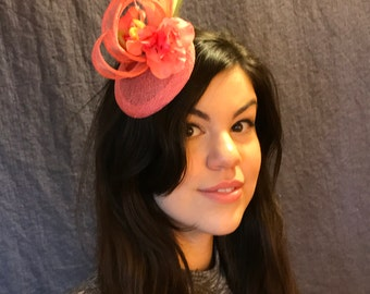 Exotic Coral Fascinator/Coral Colored Hat/Airy Flamingo Fascinator/Peach and Cherry Flower/Flower Fascinator/Coral Confection/Featherd Hat