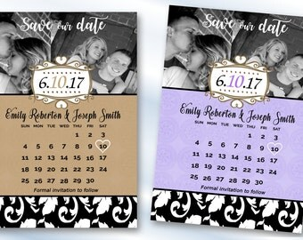 Save The Date Magnets Calendar Save The Dates Wedding Invitation Magnet Damask Save The Date Magnets, Personalized Magnets