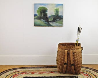 vintage oil painting, antique oil on canvas painting, LANDSCAPE painting,wall art,farmhouse decor,Hudson Valley landscape,rustic decor