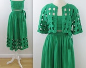 Laura Biagiotti Emerald Linen Skirt & Crop Top Outfit - Vintage 1980s Designer 3 Piece Dress Set in Small