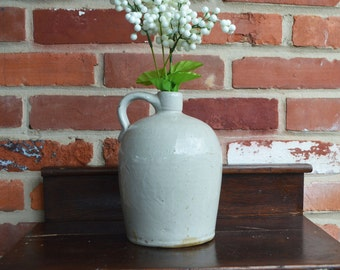 Vintage Cream/Gray Stoneware Whiskey Jug