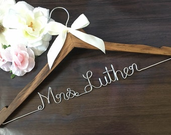 Rustic Bride. Personalized Bridal Wedding Hanger. Bridal Hanger. Bridal Party. Custom Hanger. Comes With Bow