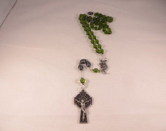 Saint Patrick's Center And Celtic Cross With Green Crystals And Black Shamrock Beads Irish Rosary