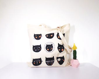 Cat Faces Cotton Tote Bag