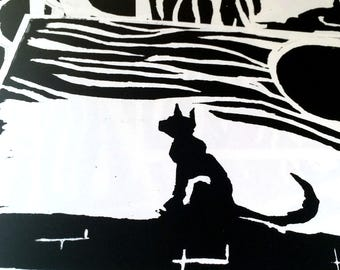 Original Cat Lino Print - Black and White