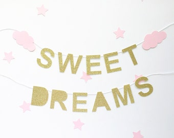 Sweet dreams mini banner with clouds - gold silver pink blue white nursery decor