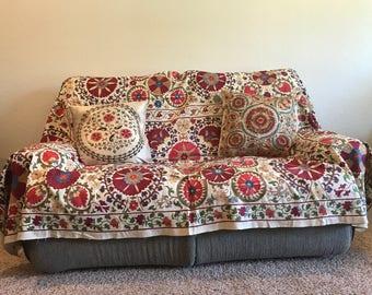 Handmade Suzani, Uzbek Suzani, Modern Suzani