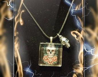 Sugar skull pendant, Gothic sugar skull pendant, Day of the Dead glass tile necklace, Glass tile necklace, Skull & Roses