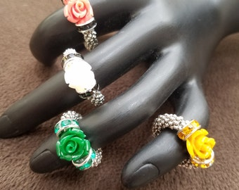 Trendy stretchy beaded rose rings to add a little bling to any outfit